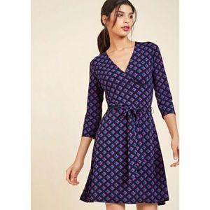 Leota Modcloth Printed Faux Wrap Dress XS